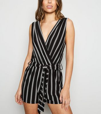 Cameo Rose Black Stripe Wrap Playsuit