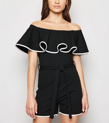 Cameo Rose Black Contrast Trim Ruffle Bardot Playsuit
