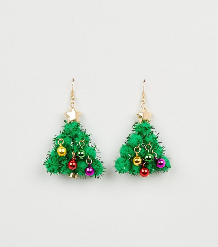Christmas Tree Picture.Green Christmas Tree Tinsel Drop Earrings Add To Saved Items Remove From Saved Items