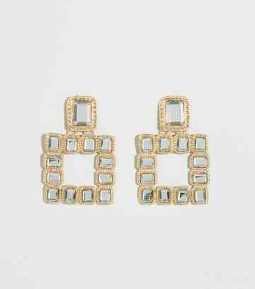 Gold Rectangle Gem Doorknocker Earrings
