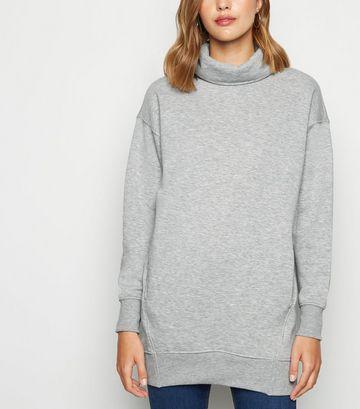 Grey Cowl Neck Longline Sweatshirt
