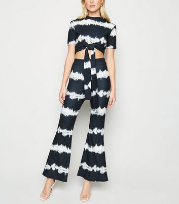 Cameo Rose Black Tie Dye Flare Trousers
