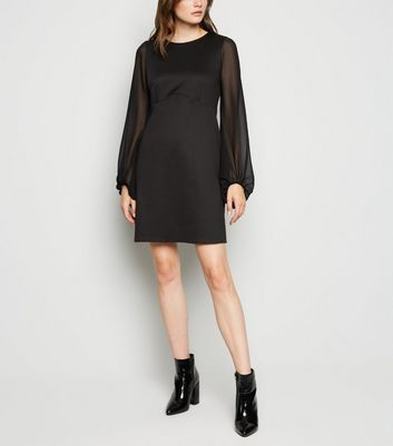 Black Chiffon Balloon Sleeve Dress by New Look