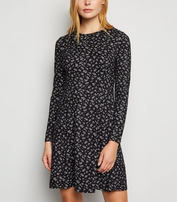 Black Floral Long Sleeve Soft Touch Mini Dress