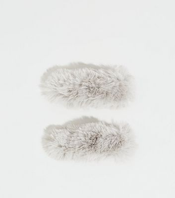 2 Pack Grey Faux Fur Hair Clips