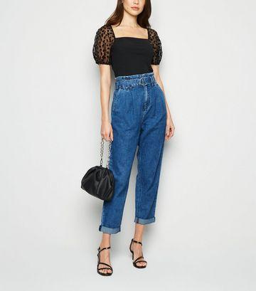 Blue D-Ring Belt High Waist Tapered Jeans
