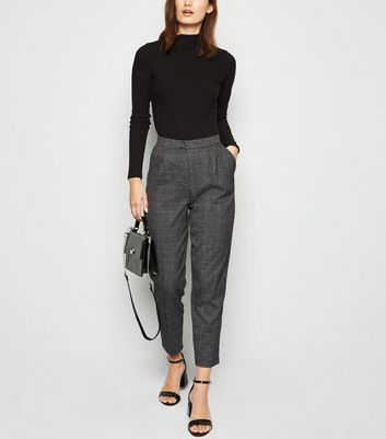 Light Grey Check Slim Leg Trousers by New Look