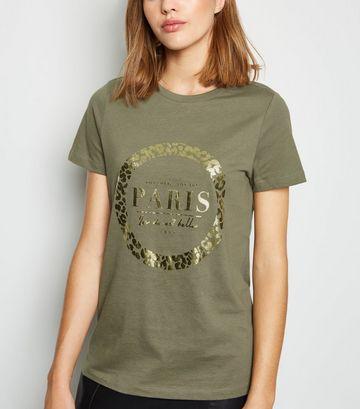 Khaki Paris Metallic Slogan T-Shirt