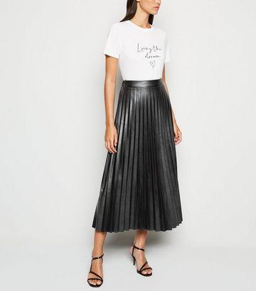 Black Leather-Look Pleated Midi Skirt