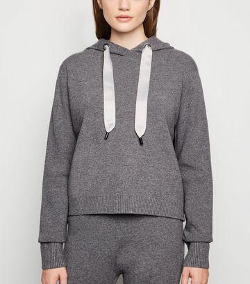Dark Grey Knitted Hoodie