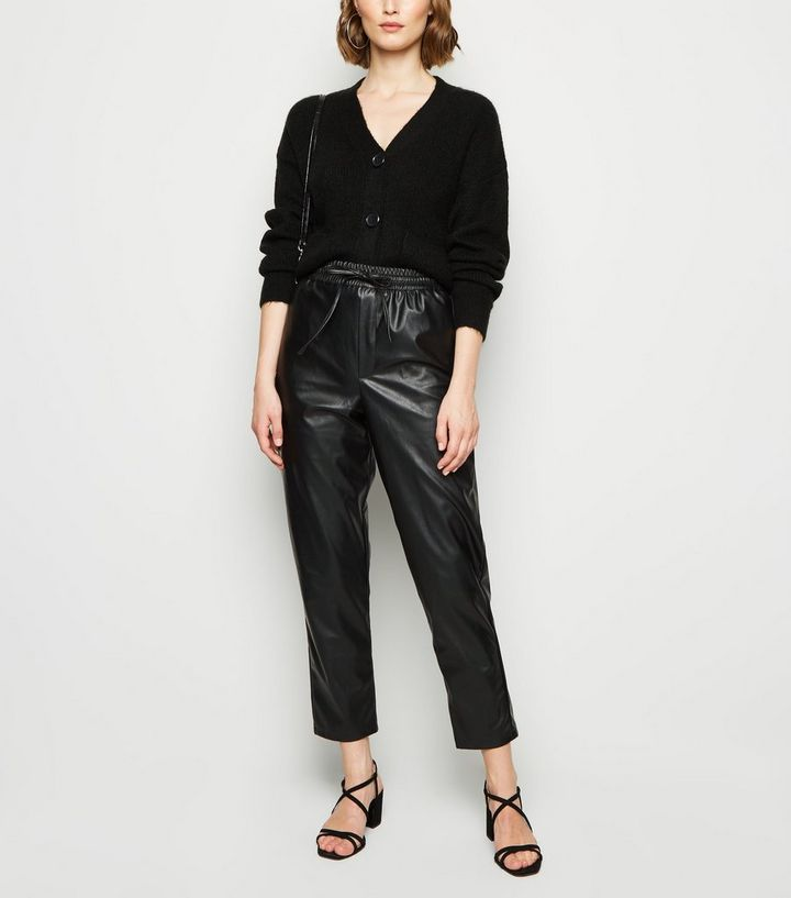 best quality buying now professional website Black Coated Leather-Look Tie Waist Joggers Add to Saved Items Remove from  Saved Items