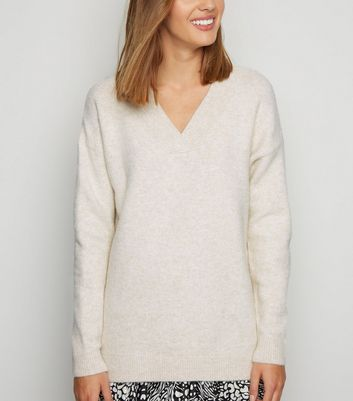 Stone Knit V Neck Longline Jumper by New Look