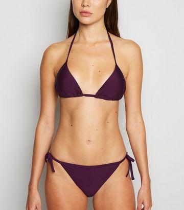 Dark Purple High Shine Triangle Bikini Top