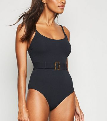 Black Belted Square Buckle Swimsuit