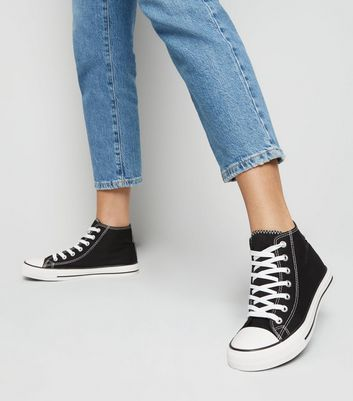 black canvas trainers high top women