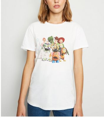 White Toy Story Print T-Shirt