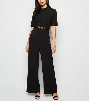 Mela Black Chain Wide Leg Jumpsuit