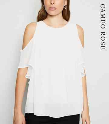 Cameo Rose White Pleated Cold Shoulder Top