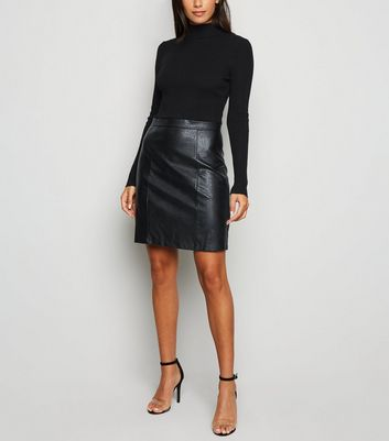Urban Bliss Black Ribbed Leather-Look 2 in 1 Dress New Look