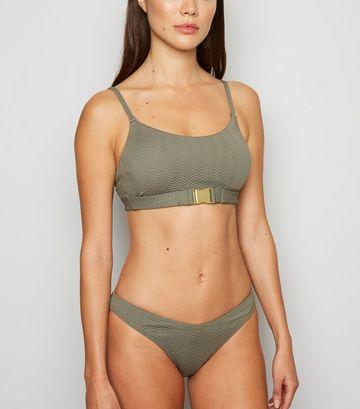 Olive Chevron Buckle Front Crop Bikini Top
