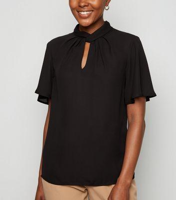 Black Chiffon Twist Pleat Neck Blouse by New Look