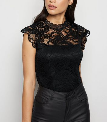 Black High Neck Lace Bodysuit by New Look
