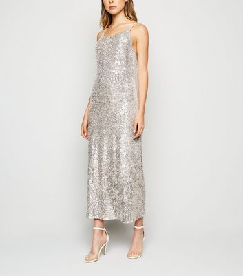 Gold Sequin Embellished Midi Slip Dress by New Look