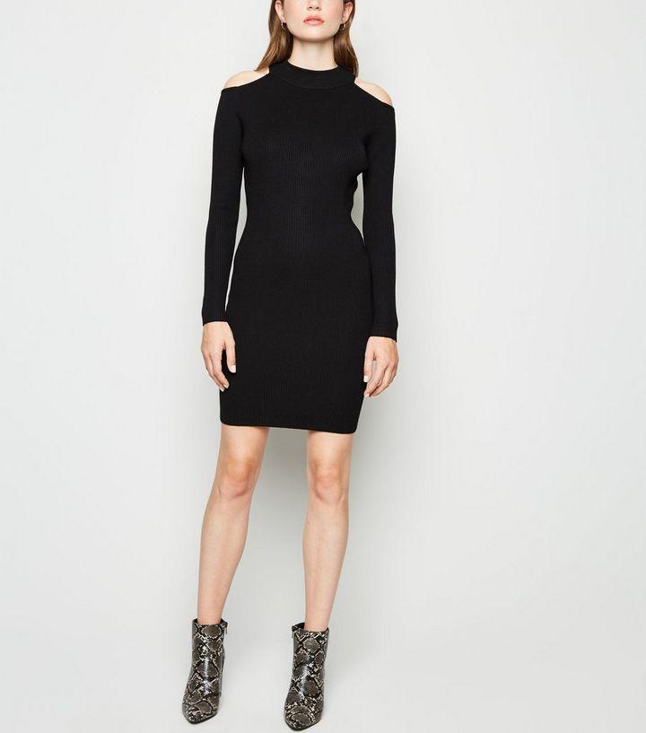 vente pas cher grand assortiment boutique pour officiel Robe pull courte côtelée noire à épaules dénudées Ajouter à la Wishlist  Supprimer de la Wishlist