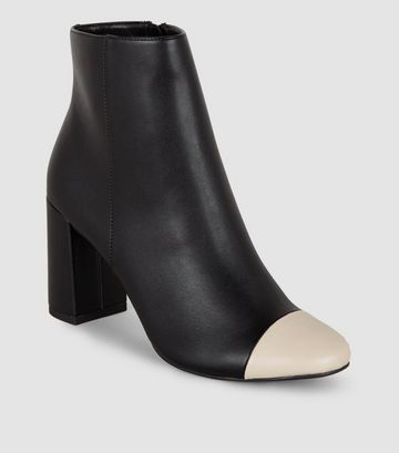Black Leather-Look Contrast Toe Heeled Boots