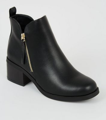 Girls Black Leather Look Square Toe Boots by New Look