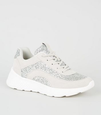 Silver Suedette Glitter Chunky Lace Up