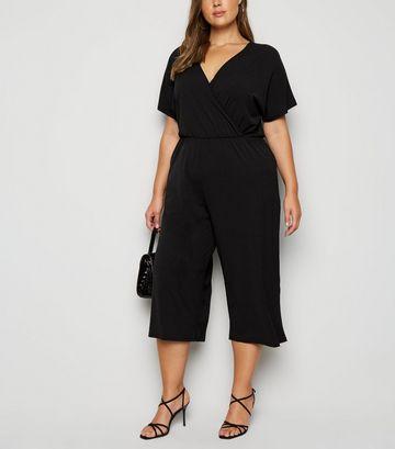 Mela Curves Black Wrap Culotte Jumpsuit