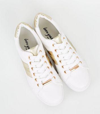 White Leather-Look Metallic Stripe
