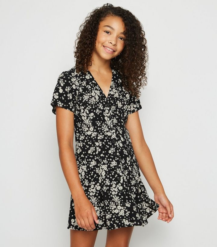 f9d9636d318 Girls Black Floral Button Up Tea Dress Add to Saved Items Remove from Saved  Items