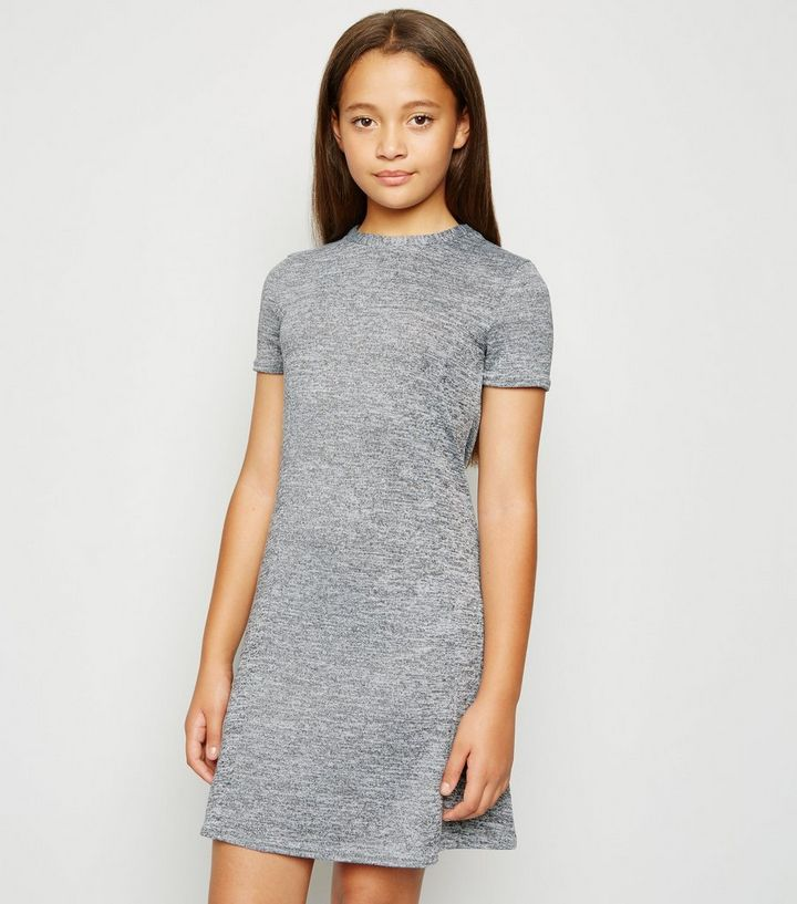Girls Robe Patineuse Gris Chine En Maille Fine New Look