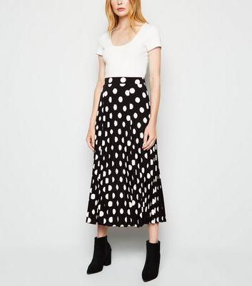 Black Spot Pleated Midi Skirt by New Look