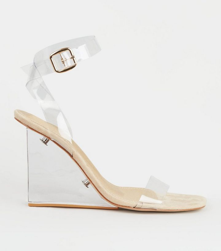 special sales official store shoes for cheap Cream Ankle Strap Clear Wedges Add to Saved Items Remove from Saved Items
