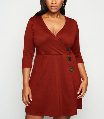 Blue Vanilla Curves Burgundy Wrap Button Dress by New Look