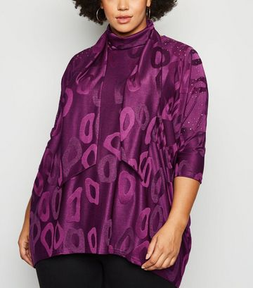 Blue Vanilla Curves Light Purple Tunic and Scarf Top