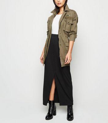 Noisy May Black Ribbed Midi Skirt New Look
