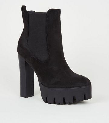Black Suedette Chunky Platform Chelsea Boots