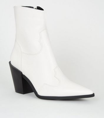 White Leather Look Western Heeled Calf Boots by New Look