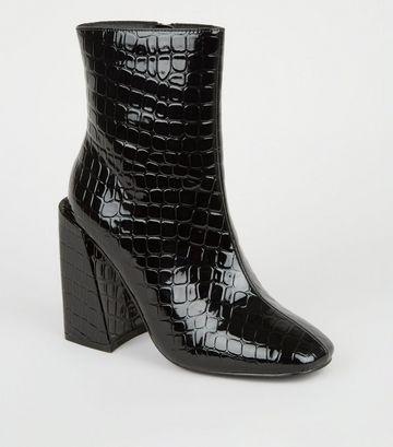 Black Faux Croc Flared Block Heel Boots
