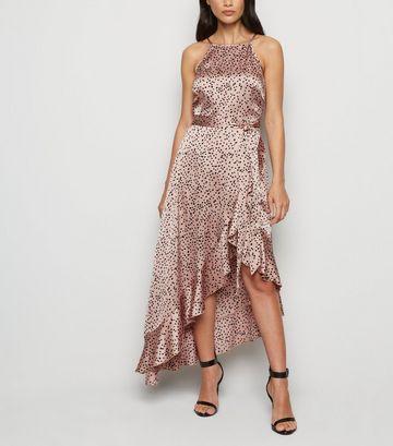 Brown Spot Ruffle Satin Wrap Midi Dress