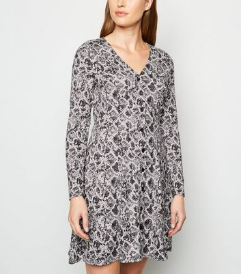 Light Grey Snake Print Button Up Dress by New Look