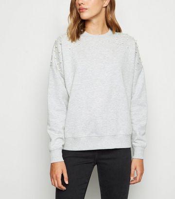 Grey Faux Pearl Embellished Sweatshirt