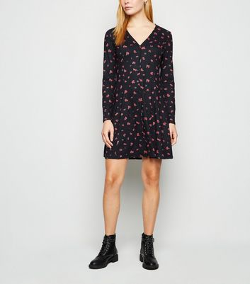 Black Rose Soft Touch Button Up Dress by New Look