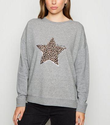Grey Leopard Print Star Slogan Sweatshirt