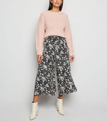 Black Ditsy Floral Crop Trousers by New Look