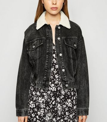 Black Teddy Collar Denim Bomber Jacket